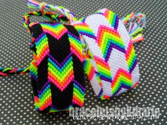 Neon Rainbow Chevron/Arrow Friendship Bracelet - 2 Sizes Available - White or Black - MADE TO ORDER