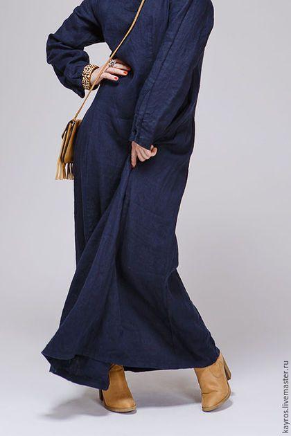Купить или заказать Бохо платье 4/10 цвет индиго в интернет-магазине на Ярмарке Мастеров. Льняное платье цвета индиго в стиле бохо из мягкого варёного льна.