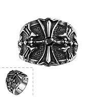 individuale+de+moda+inel+din+oțel+inoxidabil+bărbați+decorative+transversală+nici+o+piatra+lui+(negru)+(1buc)+–+EUR+€+11.76