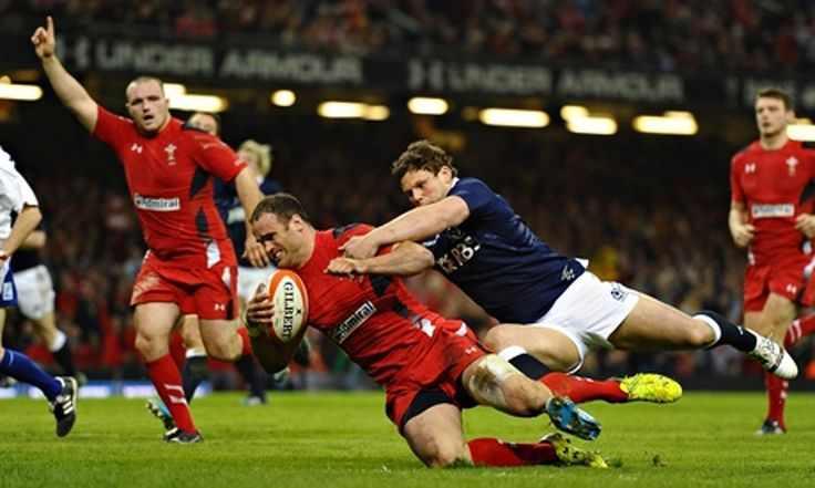 Jamie Roberts scores a try as Wales recorded their biggest Six Nations winning margin, 51-3 over Scotland, after Stuart Hogg was shown a red card at the Millennium Stadium in the 2014 Six Nations