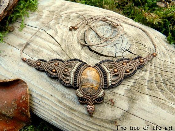 Handmade Macrame Necklace with Picture Jasper & Copper Beads/Macrame Jewelry/Jasper Stone/Leaf copper/Boho Gipsy jewelry/Ethnic jewelry/Gift