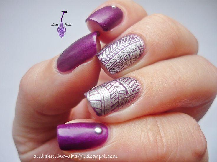 My new nail art design with stampin plate BP-07. More: http://anitakulikowska89.blogspot.com/2014/12/born-pretty-store-stamping-plate-bp-07.html