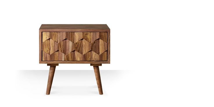 Swoon Editions Bedside table, mid-century style in rosewood - £119