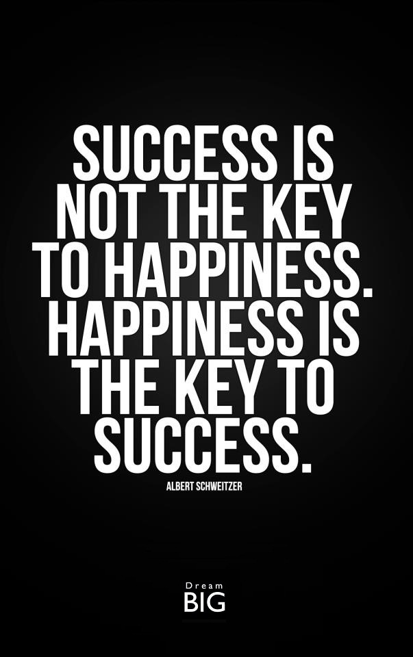 Quotes For Success And Happiness: Success Is Not The Key To Happiness.