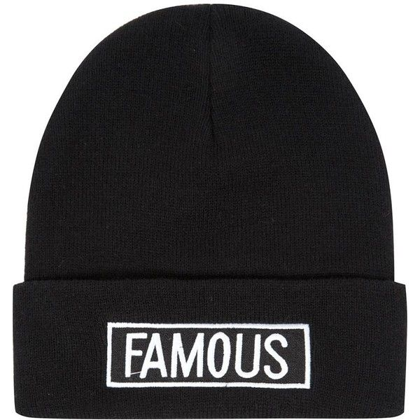 Black Famous Slogan Beanie found on Polyvore