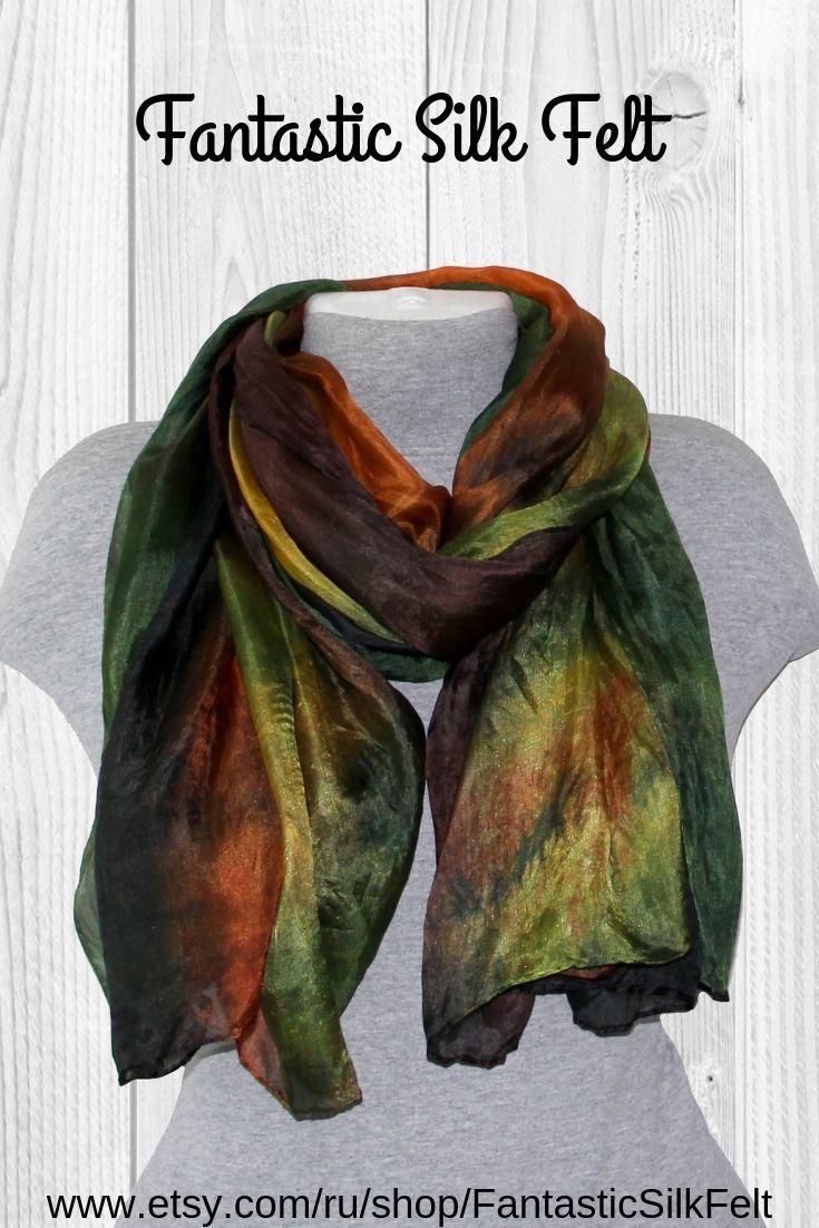 Multicolor Silk Scarf For Women Green Brown Burnt Orange Scarves Fall Women S Shawl Christmas Gift For Mom Sewing Women Gifts For Women Women Shawl