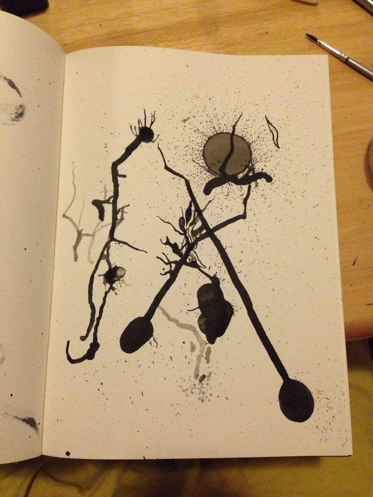 Journal page - ink, 2013. Ink blots by Sara Ferrington. www.facebook.com/fershaw.art