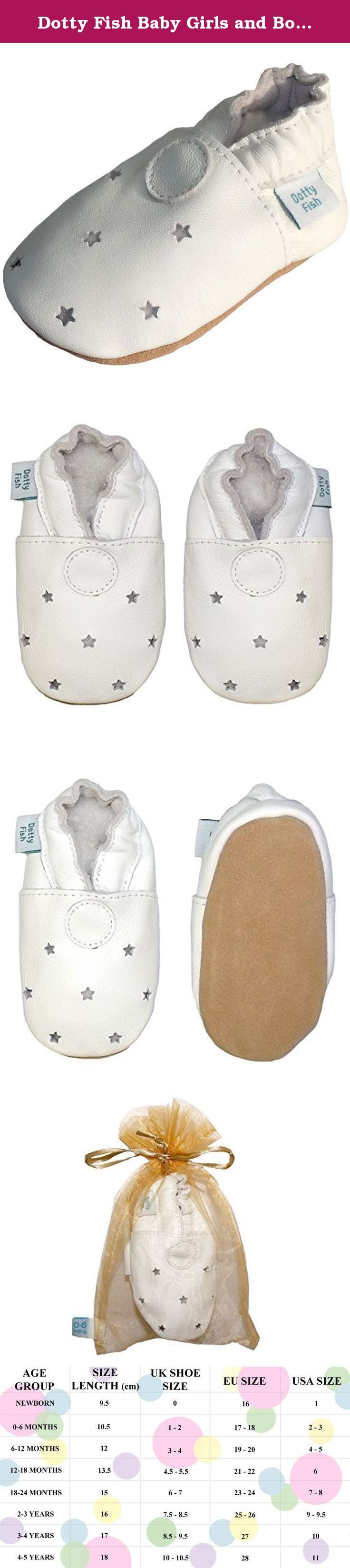 Dotty Fish Baby Girls and Boys Soft Leather Shoe with Suede Soles 3-4 Years White Stars. These baby shoes are made from soft leather and have suede soles with elasticated ankles so they fit really well and don't keep falling off. With non-slip suede soles they are ideal for wooden and laminate floors. All shoes come presented in an organza drawstring bag. All of Dotty Fish leather is chrome free and is tested at a laboratory before the shoes are made to ensure that the leather is safe…