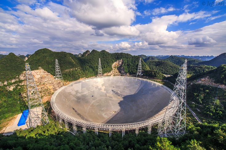 The Five-hundred-meter Aperture Spherical Telescope (FAST) is nestled within a natural basin in China's remote and mountainous southwestern Guizhou province. Nicknamed Tianyan, or the Eye of Heaven, the new radio telescope is seen in this photograph taken near the start of its testing phase of operations on September 25. Designed with an active surface for pointing and focusing, its enormous dish antenna is constructed with 4,450 individual triangular-shaped panels.
