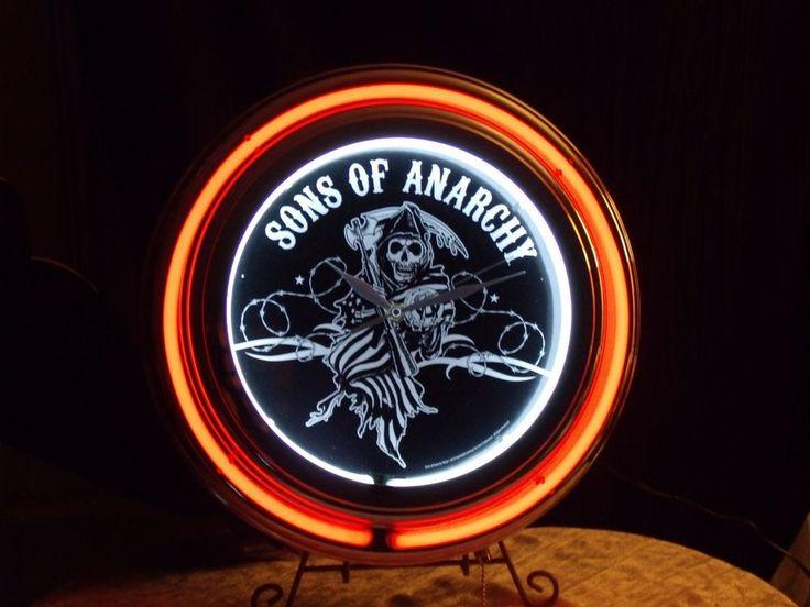 Sons of Anarchy Neon Clock / SOA Wall/Bar Neon Light Clock / Official SOA Reaper