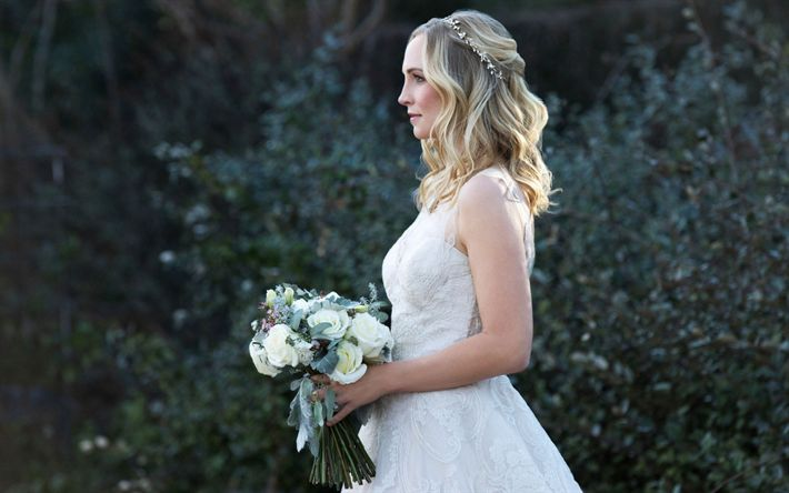 Descargar fondos de pantalla Candice Accola, actriz, novia, vestido blanco, vestido de novia, mujer hermosa de la boda