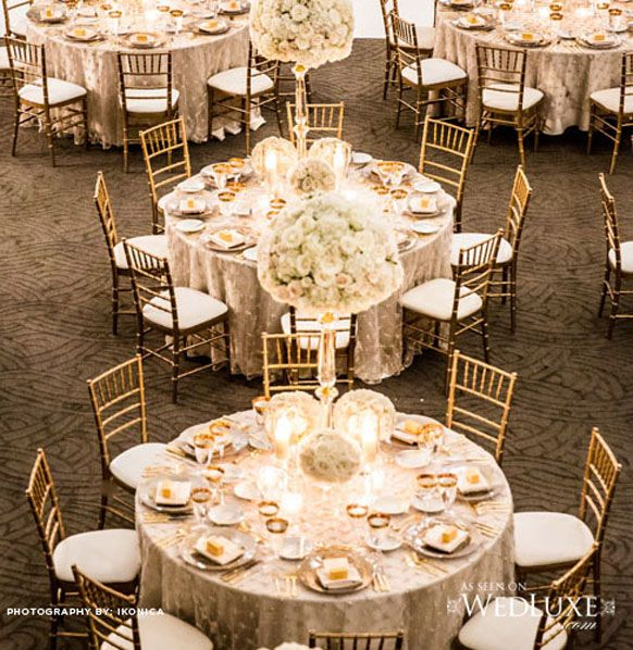 White Wedding And Gold Chiavari Chairs