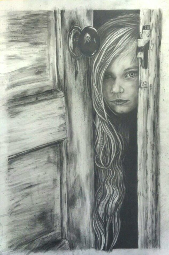 My latest drawing. Large graphite portrait of creepy peeking girl.