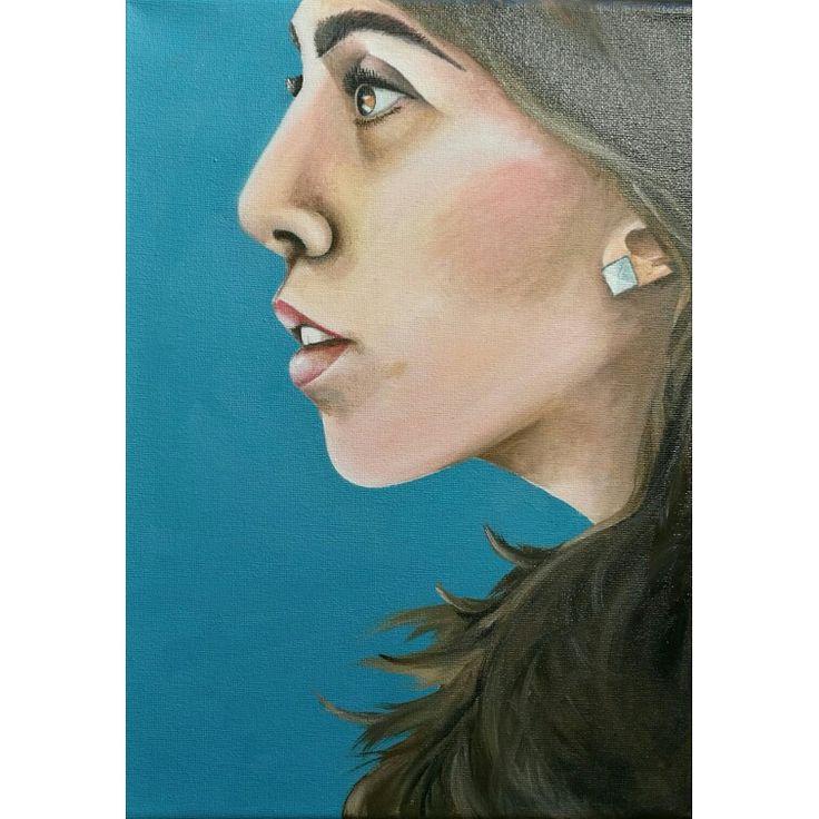 """Elena Capodicasa (BiHellen Artist) """"Ritratto di donna sul blu"""" Olio su tela"""
