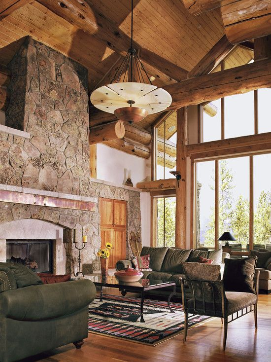 Fabulous Mountain House Design; Living Room Decoration: Exquisite Living Room Stone Fireplace Living Rooms For Mountain Homes