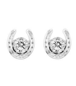 Kelly Herd Round Stone Horseshoe Earrings
