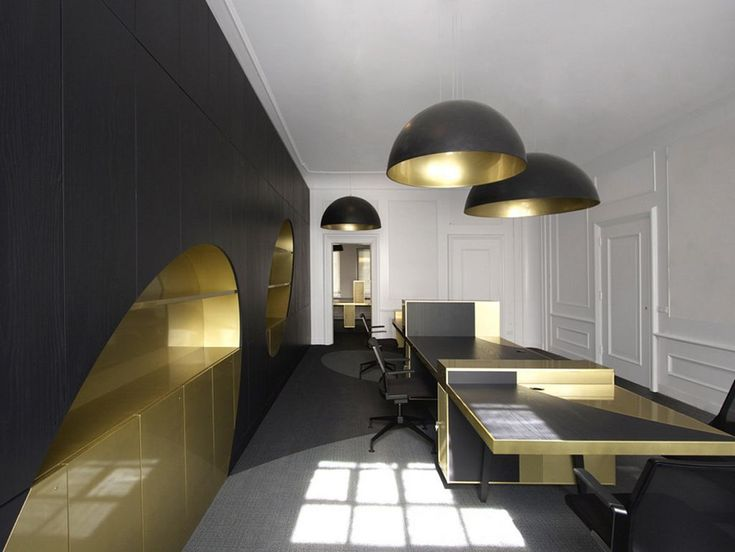 Appealing Contemporary Workspace Style Created Based On Modern Concept :  Black And Gold Power Interior Office Design Ideas
