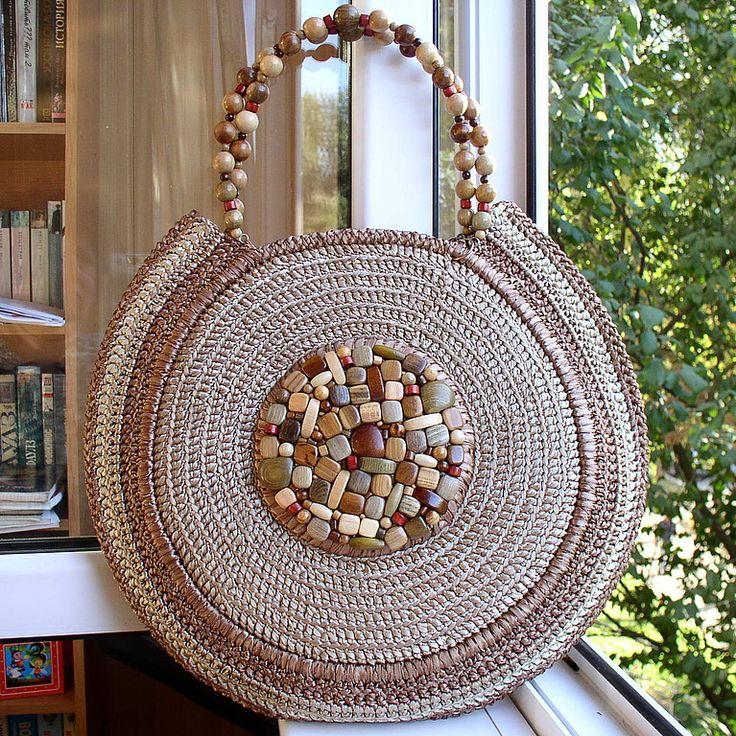 """Купить Сумочка """"Женщина-Осень"""" - повседневная сумка, бежевый, деревянные бусины, авторская модель"""