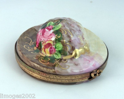 New Hand Painted French Limoges Box Gorgeous Light Dark Brown Hat w Pink Roses | eBay