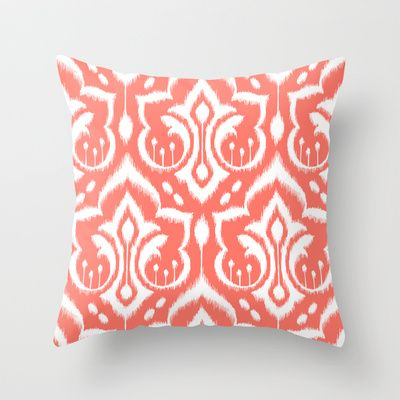 Ikat Damask Coral Throw Pillow by Patty Sloniger - $20.00