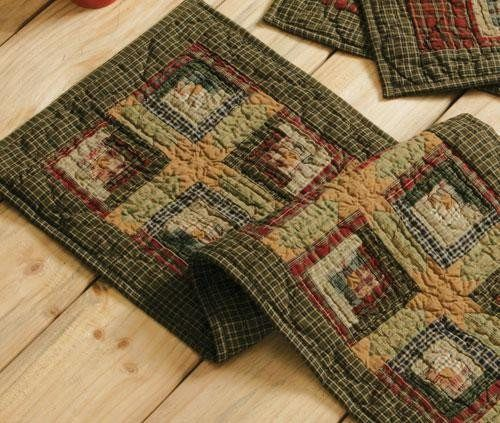 Add a classic country accent to your table decor with this charming Tea Cabin quilted runner part of our Tea Cabin collection at Primitive Star Quilt Shop.