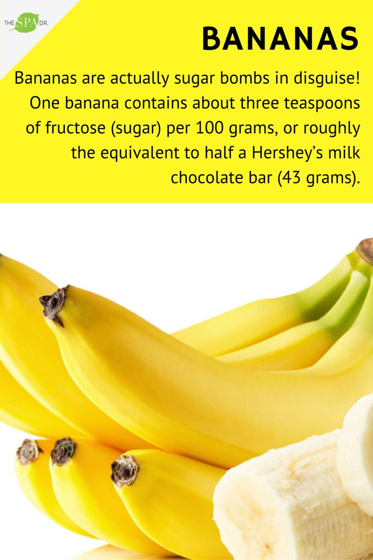 #Bananas - sugar bombs in disguise!   If you must go bananas, try boosting the nutritional value by adding a nut butter for a protein hit — and eat only half to limit unneeded sugar. And a not-so-ripe banana also has less sugar, so factor that into the equation if you go bananas for the fruit.