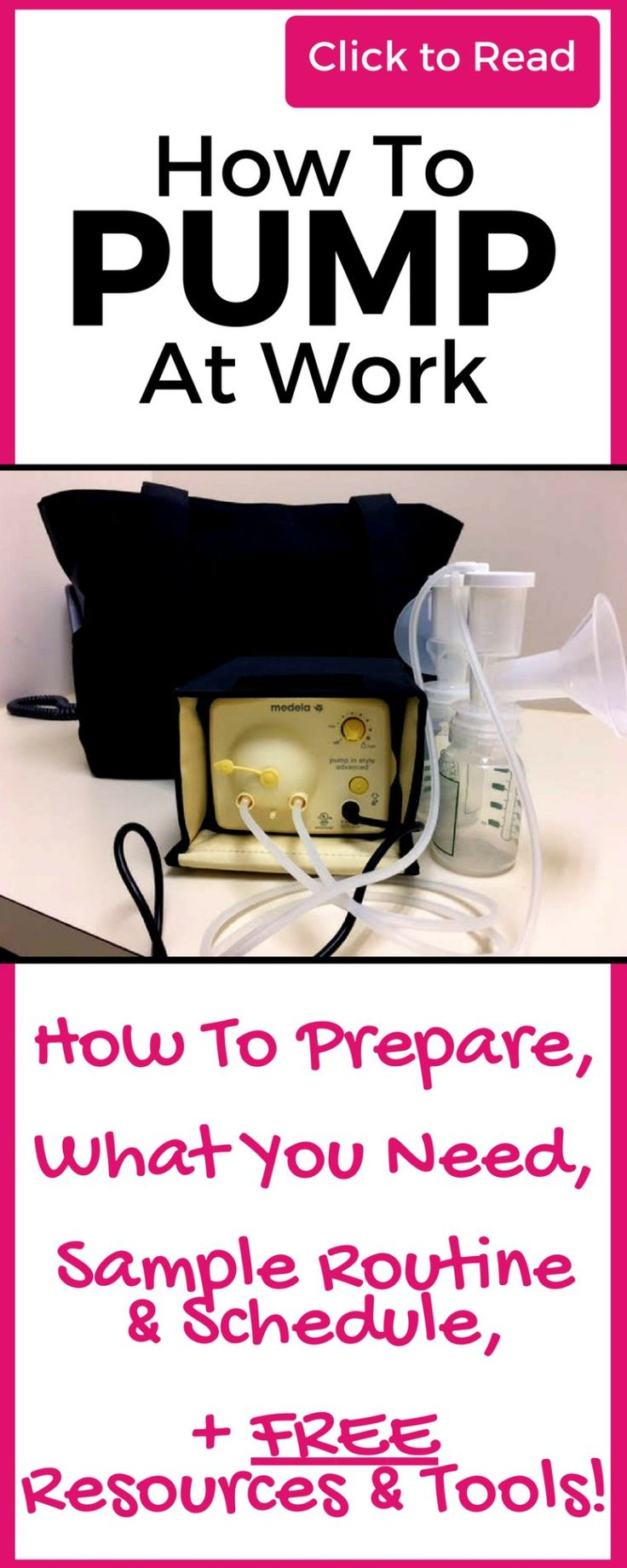 Everything you need to successfully pump at work! Read this while still on maternity leave so you can prepare! Covers Pumping schedule, Pumping milk, Pumping at work tips, Pumping at work schedule and Pumping at work essentials! Plus get some free downloadable resources & tools!
