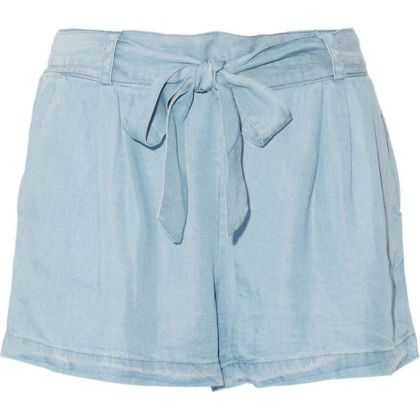 Splendid Belted Tencel-chambray shorts (€110) ❤ liked on Polyvore featuring shorts, light blue and tie belt
