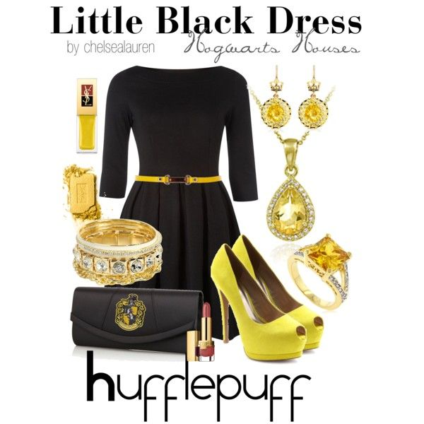 Little Black Dress - Hogwarts Houses | Hufflepuff, created by chelsealauren10 on Polyvore
