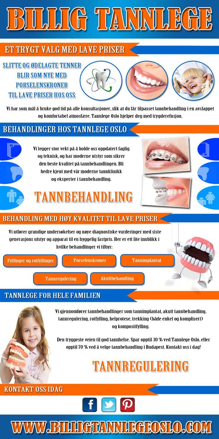 Sjekk http://www.billigtannlegeoslo.com/ denne linken her for mer informasjon om billig tannlege. Fordypning og muntlig helsetjenester er viktig som alle andre helsemessige problemet og bør ikke bli neglisjert. Finne en god tannlege nær du er første skritt for å bli tatt. Dyktighet, omdømme og pris er de andre faktorene også å bli vurdert. Heretter kan velge best og den mest kjente og billig tannlege. Følg oss: http://billigtannlege.contently.com