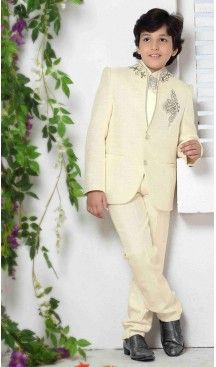 Heavy Tr Fabric Beige Blazer & Suits For Boys