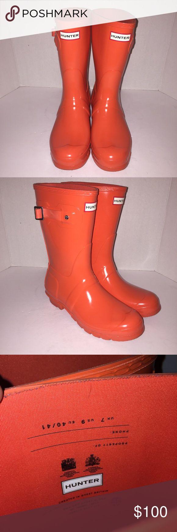 Hunter Orange Gloss Short Wellies Rainboots sz 9 Worn once no. Box women's sz 9 Hunter Boots Shoes Winter & Rain Boots