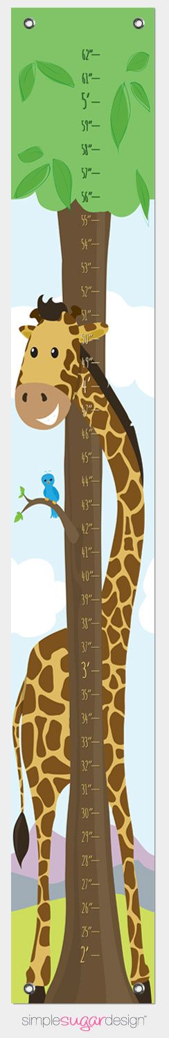 Makes a great Christmas gift! Canvas Growth Chart - Giraffe | A treasured keepsake that is easy to clean and easy to store, just roll it up and pass it on to the next generation| From $39 (Can be personalized)