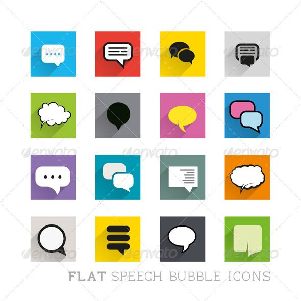 Buy Flat Icons - Speech Bubbles by solarseven on GraphicRiver. This is a  layered EPS 8 file. The icons are editable.