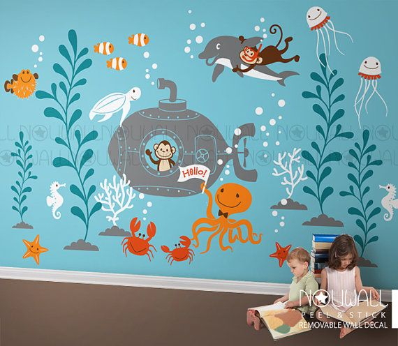 Underwater Wall Decal ,Ocean, submarine, octopus, monkey, coral, Dolphin Kids Wall Decal Wall sticker