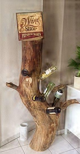 Bekannt Weinregale - Weinflaschenständer aus massiven Baumstämmen - ein YD33