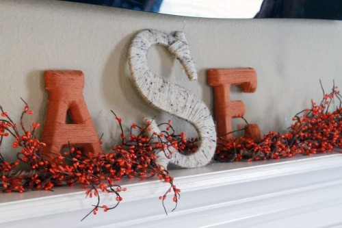 Yarn wrapped letters for mantle
