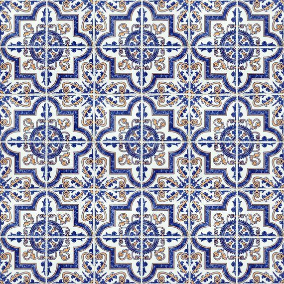 Blue Moroccan Tile Repositionable Removable Wallpaper Peel Stick Fabric Wallpaper Spanish Portuguese Azulejo Tile Blue Moroccan Tile Fabric Wallpaper Removable Wallpaper