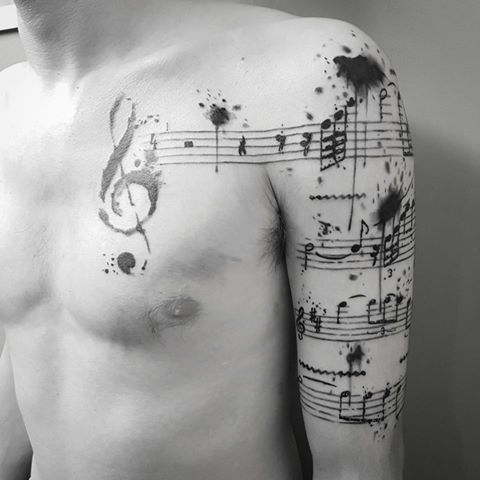 Music Trash Polka Watercolor Abstract Tattoo by Thomas Sidney Birchall @ Soular Tattoo - Christchurch - New Zealand