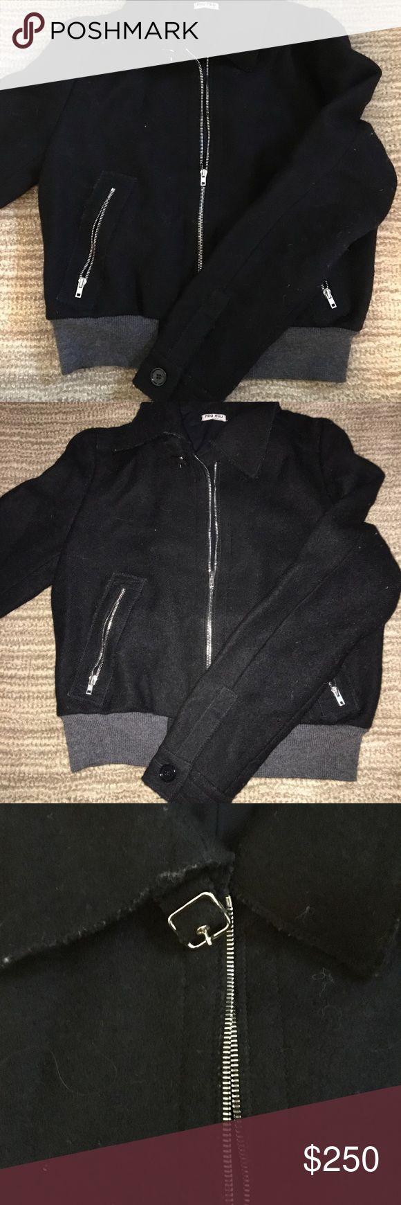 Miu Miu Wool Bomber Jacket - Fantastic Shape! Warm and beautiful Miu Miu bomber jacket with silver detailing. Size 44. Message me if you'd like to see any more pictures! Miu Miu Jackets & Coats