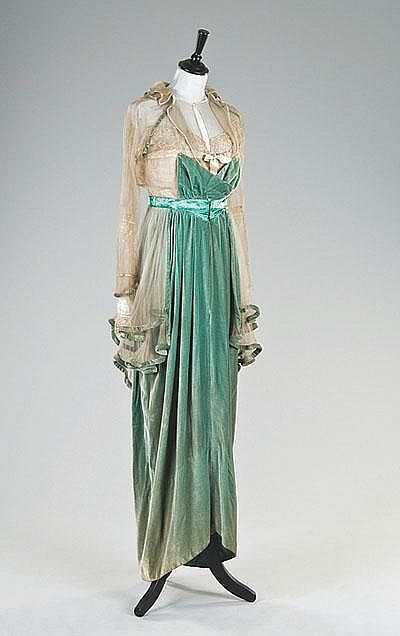 A rare jade green velvet Lucile evening gown, circa 1912-13, the ivory chiffon and lace bodice piped in velvet and edged in satin, labelled `Lucile Ltd,