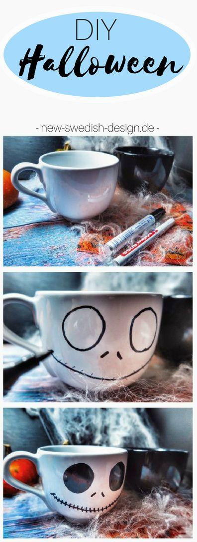 Super Simples Last Minute DIY für Halloween. Auch eine gute Bastel Idee für Kinde, die gruselig angemalten Tassen von Ikea. Dieses DIY eignet sich auch ideal zum Verschenken.