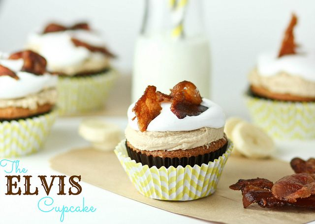 elvis cupcakes - banana cupcakes with peanut butter maple frosting topped with bacon bits - by cookbookqueen