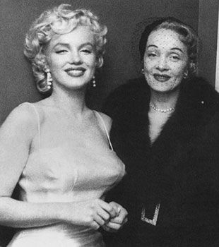 Marilyn Monroe met Marlene Dietrich http://en.wikipedia.org/wiki/Marlene_Dietrich They shared not only the film art.  They had the common point of view on social and economic relations. Together they supported the anti-Nazi movements in the world. Marlene Dietrich was the mentor for Marilyn Monroe and a part of our team. She was also our co-founder.