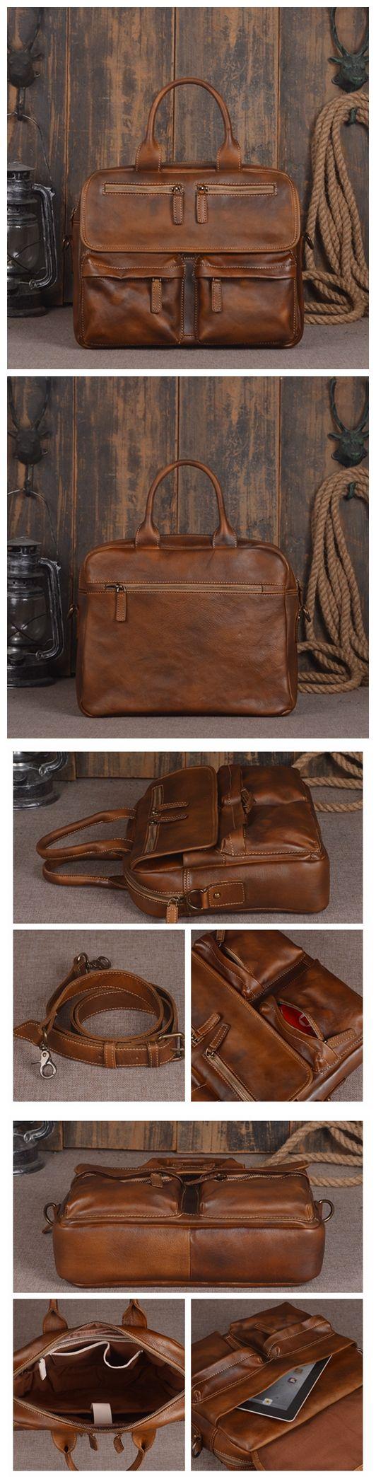 Handmade Vintage Genuine Leather Men's Briefcase Messenger Bag Laptop Bag in Vintage Brown 14134