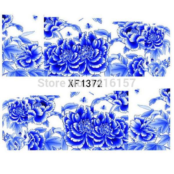 30 pcs/lot транспортировка воды маникюр наклейка наклейка элегантный океан синий пион цветы дизайн французский маникюр инструмент