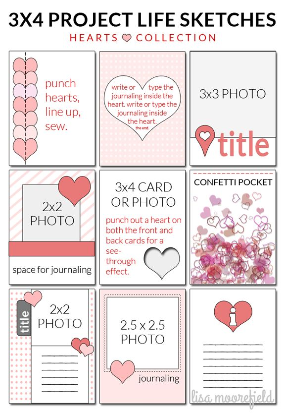 3x4 Project Life sketches using hearts. The sketches can be used for any pocket page scrapbook design.
