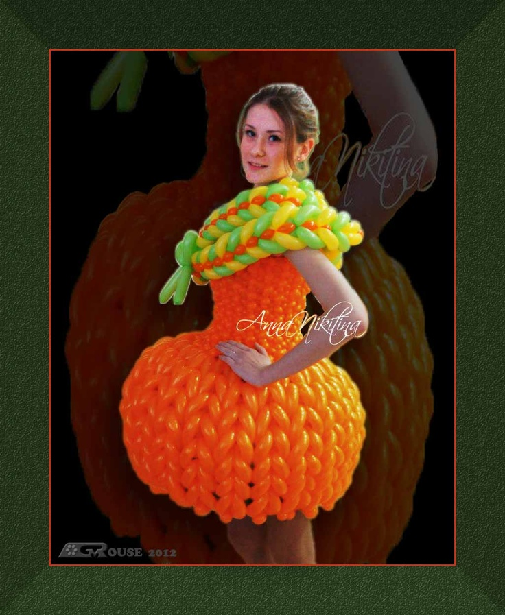 "SCULPTURE IN ORANGE --- I like the sculptured form and sensuous weave patterns of this balloon dress by Anna Nikitina. It inspired me to produce this edited version of the original photo. See the original image along with other views on Anna's Facebook page. Start at https://www.facebook.com/photo.php?fbid=367793483314496=a.367793253314519.87718.100002515428585=3  --- See more at ""Dresses Made With Balloons"" Facebook group: https://www.facebook.com/groups/292886990787342/"