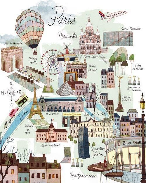Lovely map summarizing the attractions to see in Paris