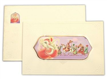 indianweddingcard.com-12229, Multicolor card Color, Multicolor Offset Cards, Hindu Cards composition of the Ganesh Ji image and the Barat procession. The interleaf has similar border design and the image windows with the paste-ups showing the Kalash and the Ganesh ji image.